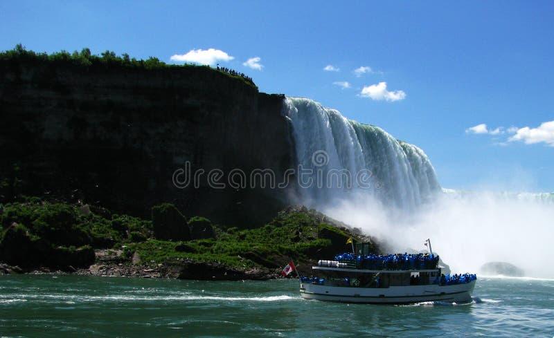 Il ferro di cavallo cade scogliera orientale e barca turistica immagine stock
