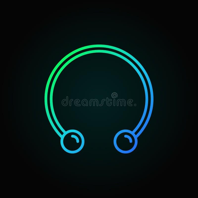 Il ferro di cavallo circolare dei bilancieri ha colorato l'icona - vector la linea simbolo illustrazione di stock