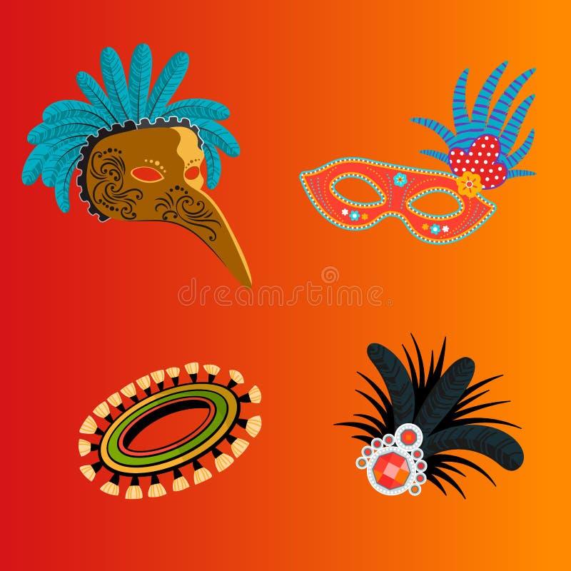 Il festival carnaval festivo del fondo di travestimento della celebrazione delle maschere di carnevale Italia e del Brasile vecto illustrazione di stock