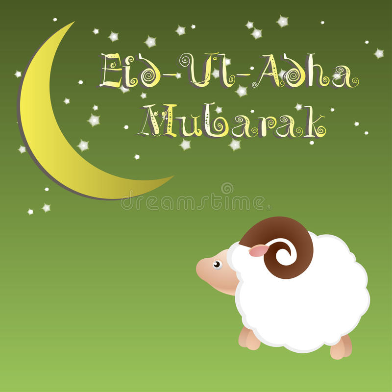 Il festival di comunità musulmano della cartolina d'auguri di Eid Ul Adha di sacrificio, fondo con le pecore moon e stelle illustrazione di stock
