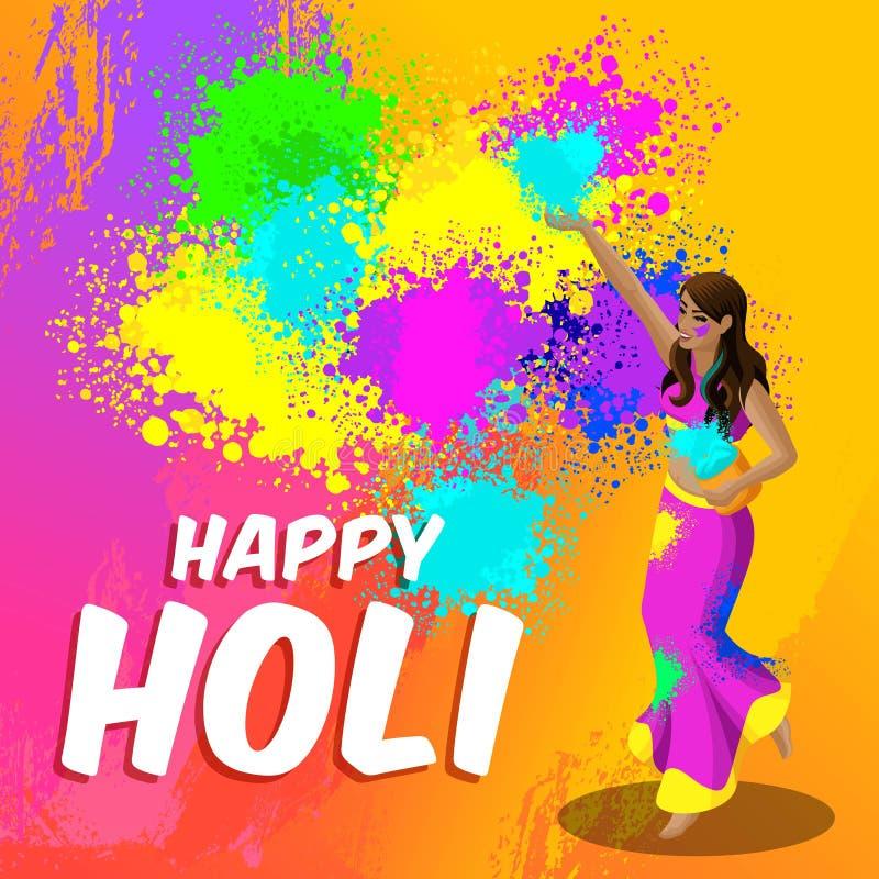 Il festival di molla di Isometry, bella donna indiana fonde colorata bello fondo prosaico e luminoso con un holi felice dell'iscr illustrazione vettoriale