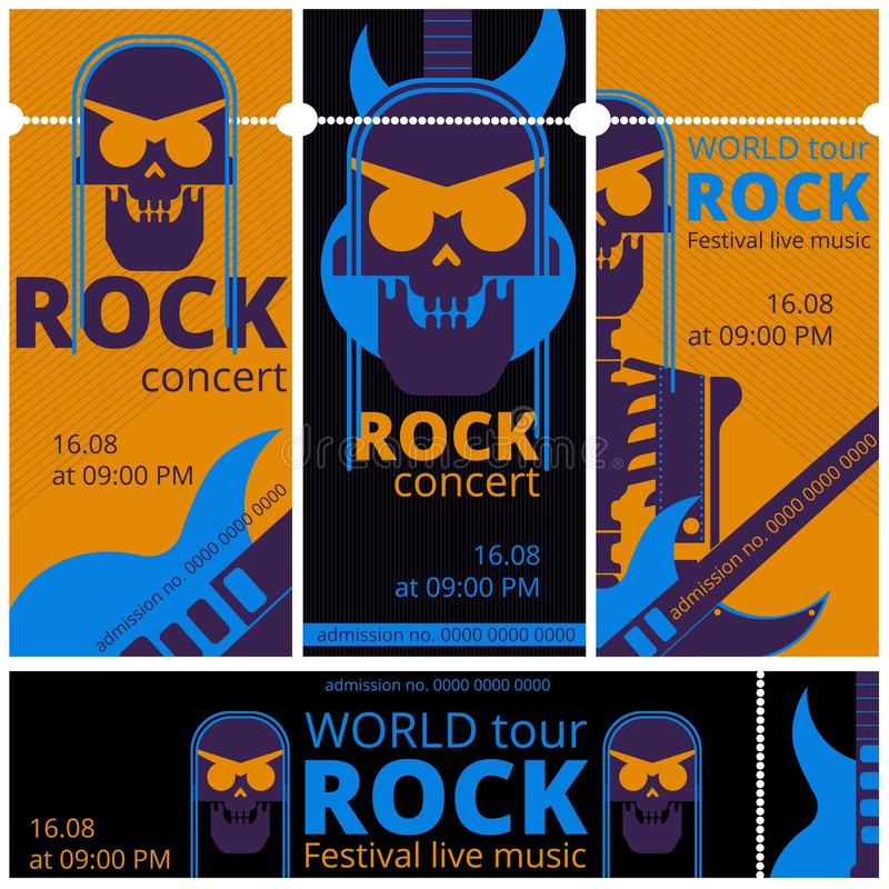 Il festival di musica rock ettichetta i modelli dell'illustrazione di vettore per il concerto rock in tensione del cranio e della illustrazione di stock