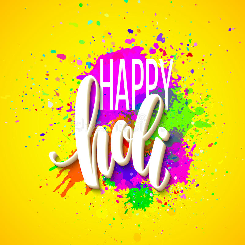 Il festival felice di Holi dei colori che accolgono il fondo con la pittura variopinta della polvere di Holi si appanna ed il tes illustrazione vettoriale