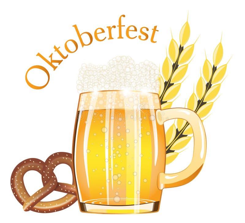 Il festival Oktoberfest della birra negli elementi della Germania progetta per il manifesto o l'insegna con con la birra chiara e illustrazione di stock
