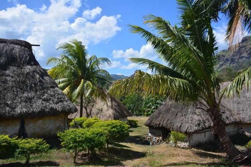 Il Fijian ha costruito tradizionalmente le case fotografia stock libera da diritti