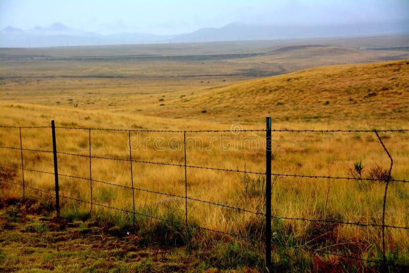 Il filo spinato recinta la pioggia in Prescott Valley immagini stock
