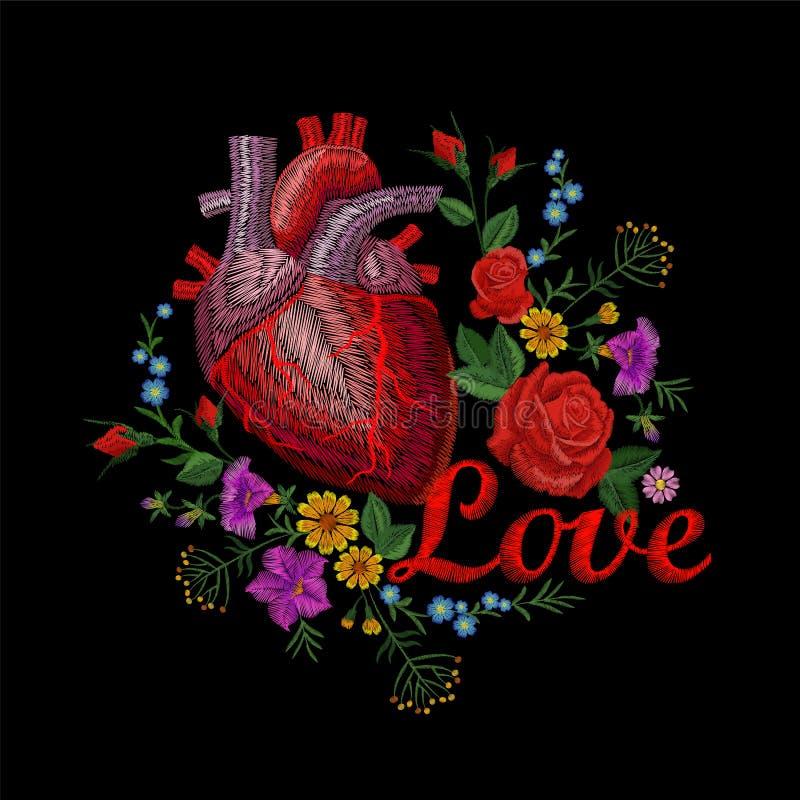 Il fiore anatomico umano dell'organo della medicina del cuore del crewel del ricamo è aumentato fiorendo Struttura di progettazio royalty illustrazione gratis