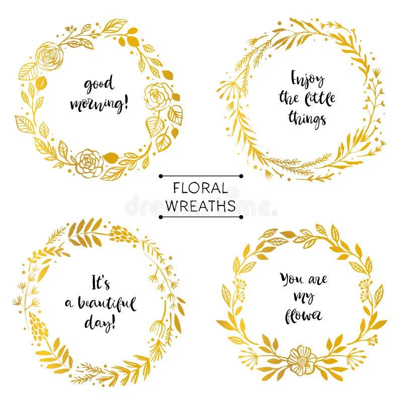 Il fiore dell'oro avvolge la carta con la citazione ispiratrice De disegnato a mano royalty illustrazione gratis