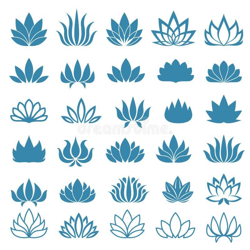 Il fiore di Lotus ha ordinato le icone messe illustrazione di stock