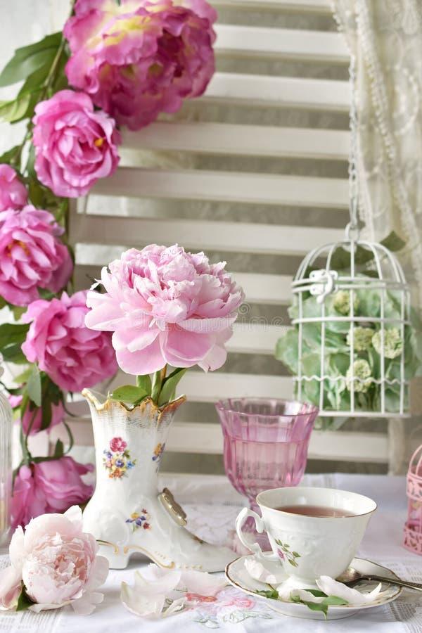 Il fiore fresco della peonia in scarpa ha modellato il vaso della porcellana fotografia stock libera da diritti