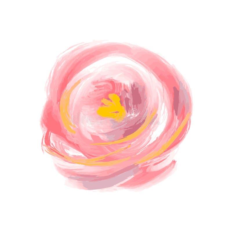 Il fiore sveglio dell'acquerello della molla è aumentato vettore Oggetto isolato arte per il mazzo di estate illustrazione vettoriale