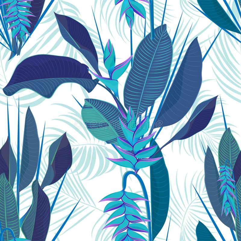 Il fiore tropicale di heliconia del ramo lascia il fondo senza cuciture Stile blu piano assorbente realistico di colore dell'acqu illustrazione di stock