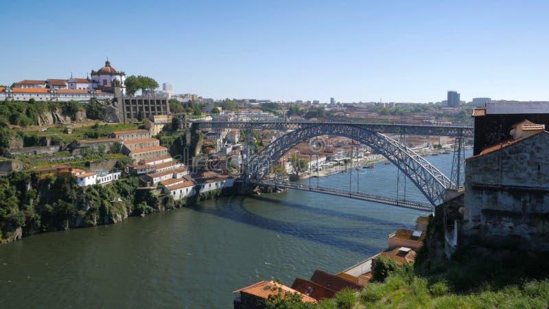 Il fiume del Duero, di Dom Luis Bridge ed il fiume di Vila Nova de Gaia fronteggiano da Oporto, Portogallo immagine stock libera da diritti