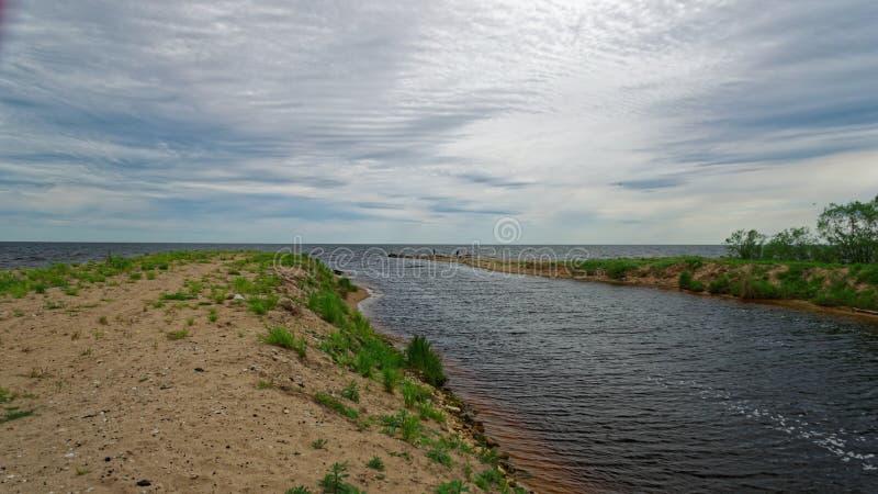 Il fiume di Alajogi sfocia nel lago Peipsi fotografia stock
