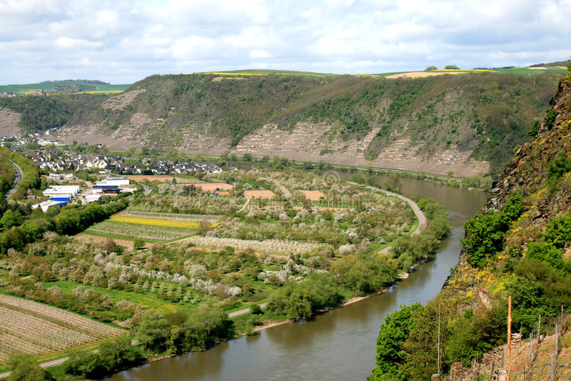 Il fiume di Mosella vicino a Winningen in Germania fotografia stock