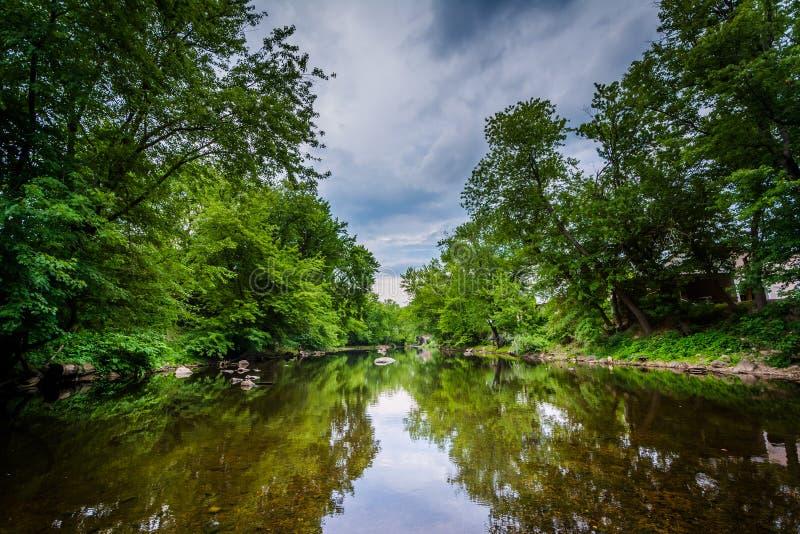 Il fiume di Piscataquog, a Manchester, New Hampshire immagine stock libera da diritti