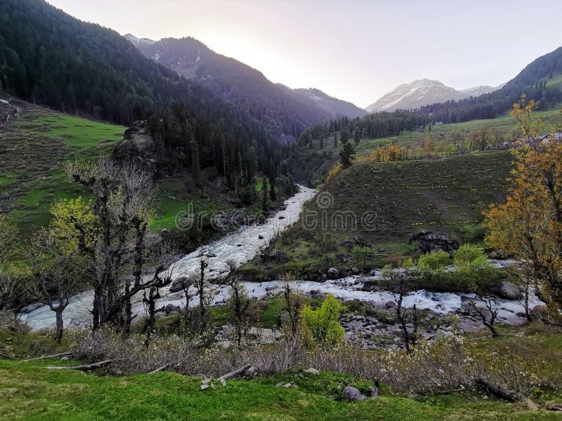 Il fiume ha causato dalla fusione della neve immagini stock