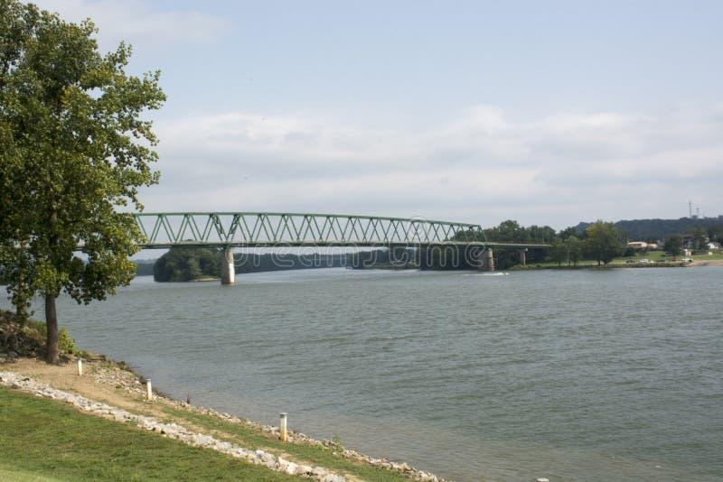 Il fiume Ohio con il ponte fotografia stock libera da diritti