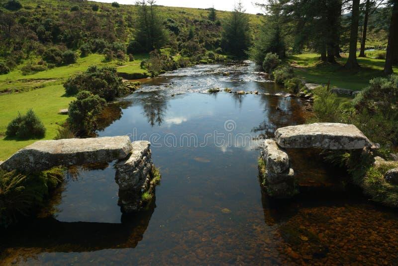 Il fiume orientale del dardo in Belever, parco nazionale di Dartmoor, Devon, U fotografia stock libera da diritti