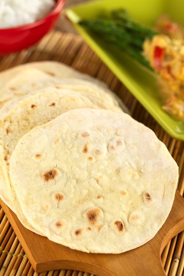 Il Flatbread indiano ha chiamato Chapati fotografia stock