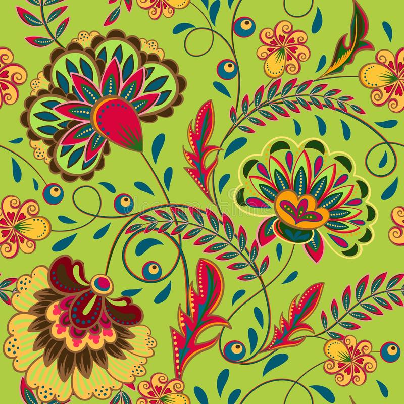 Il Flourish floreale del modello ha piastrellato l'origine etnica orientale illustrazione vettoriale
