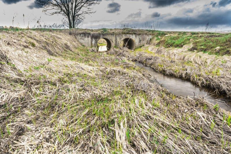 Il flusso della primavera dell'acqua nel letto di piccolo fiume attraversa i grandi tubi di drenaggio sotto il ponte in serie immagine stock