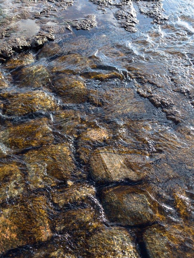 Il flusso di acqua sulla pavimentazione Pu? essere usato come fondo immagine stock libera da diritti