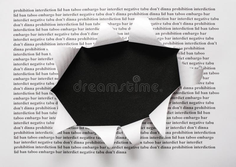 Il foglio di carta con le parole di stampa ed il taglio immagine stock