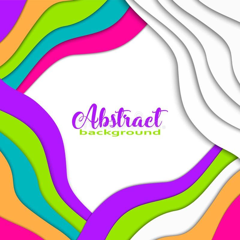 Il fondo asimmetrico variopinto luminoso dell'estratto 3D con carta ha tagliato le forme Colori d'avanguardia, onda, arcobaleno,  illustrazione di stock