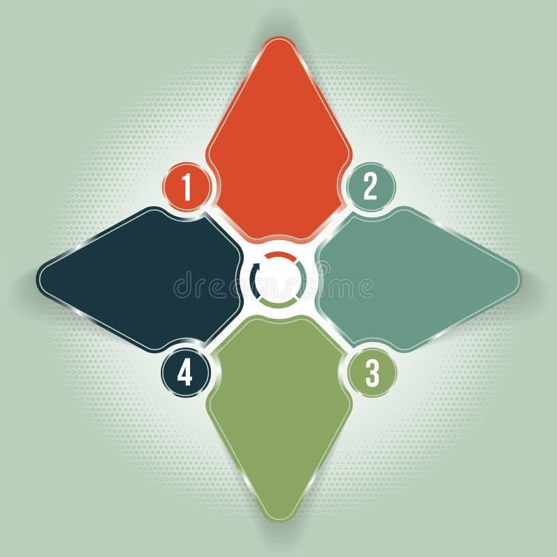 Il fondo astratto della stella con quattro ha numerato le sezioni per i testi illustrazione di stock