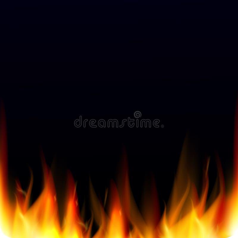 Il fondo astratto di vettore con fuoco realistico fiammeggia l'effetto Fondo dell'inferno illustrazione di stock