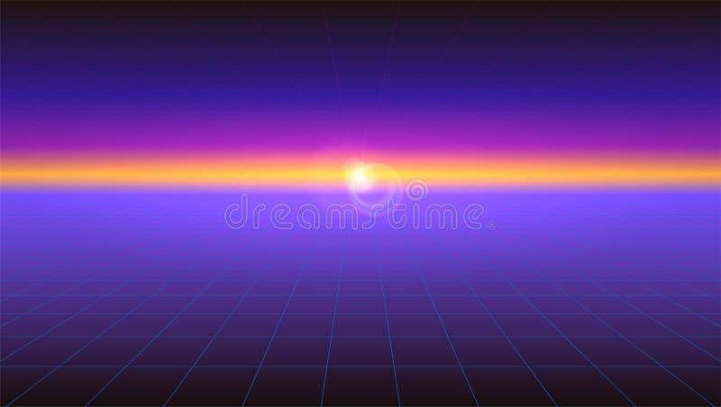 Il fondo astratto futuristico con la luce solare rays sull'orizzonte Retro pendenza di fantascienza orizzontale, stile d'annata d illustrazione di stock