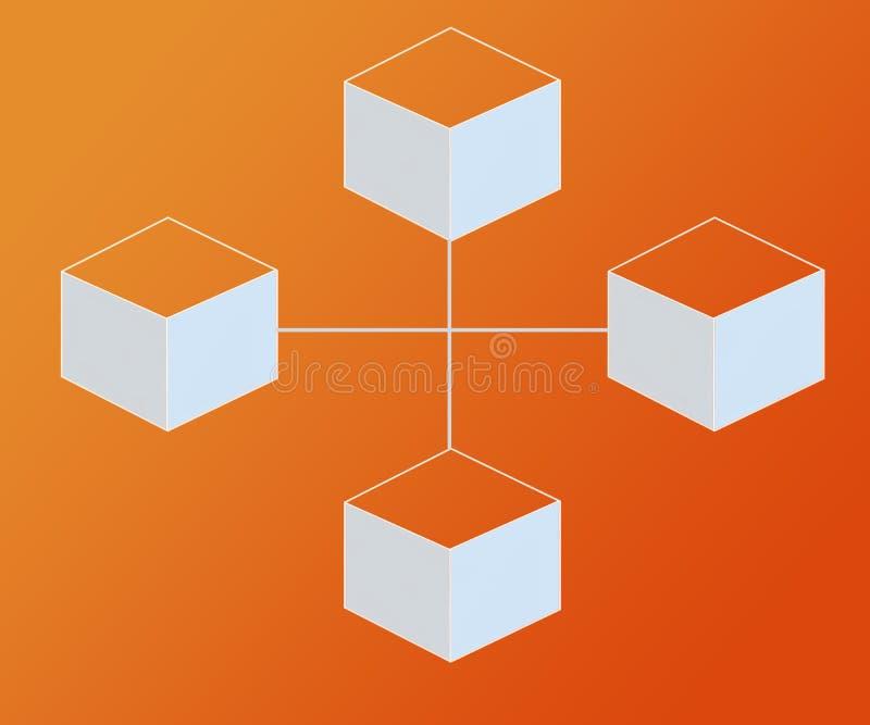 Il fondo astratto ha collegato i blocchi Bitcoin sulle pendenze arancio di colore royalty illustrazione gratis