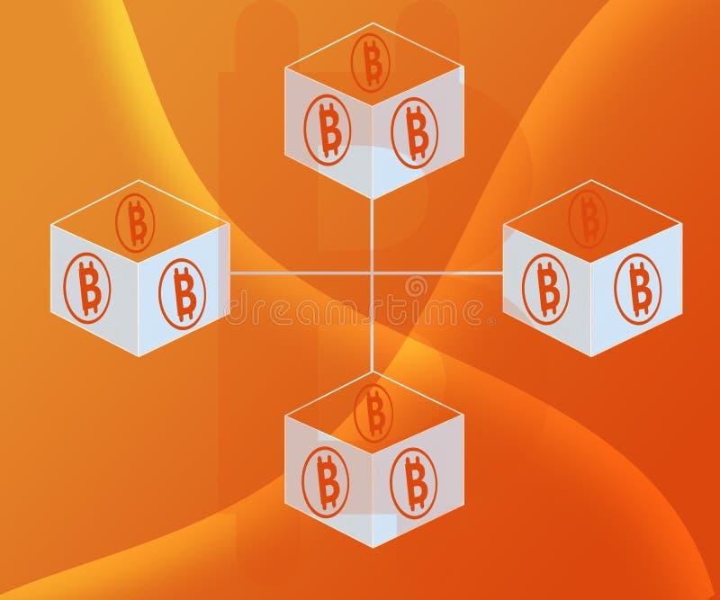 Il fondo astratto ha collegato i blocchi Bitcoin sulle pendenze arancio di colore illustrazione vettoriale