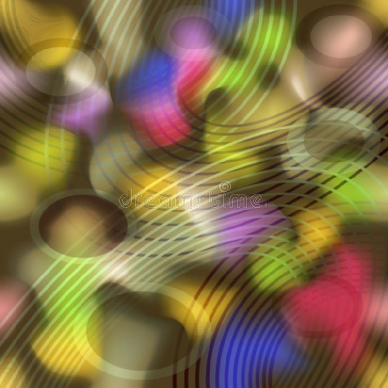Il fondo astratto psichedelico pazzo con l'arcobaleno variopinto spruzza e le curve del cerchio fotografie stock