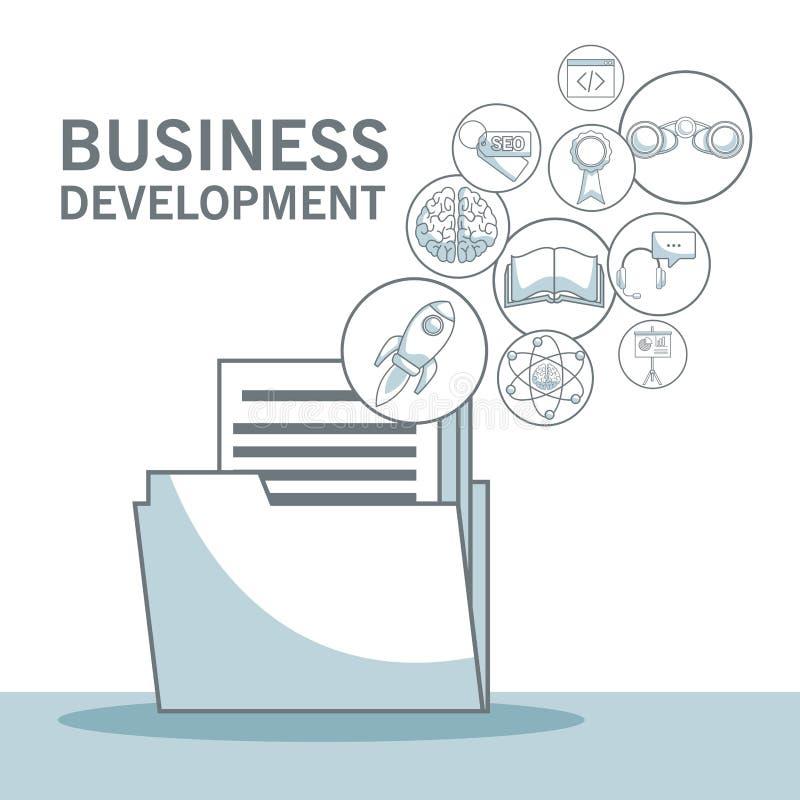 Il fondo bianco con colore della siluetta seziona l'ombreggiatura dei documenti della cartella con sviluppo di affari di galleggi illustrazione di stock
