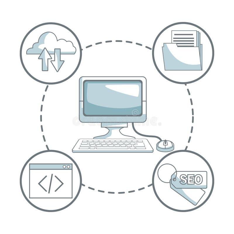 Il fondo bianco con colore della siluetta seziona l'ombreggiatura dello sviluppo di affari del computer e delle icone dello scrit illustrazione vettoriale