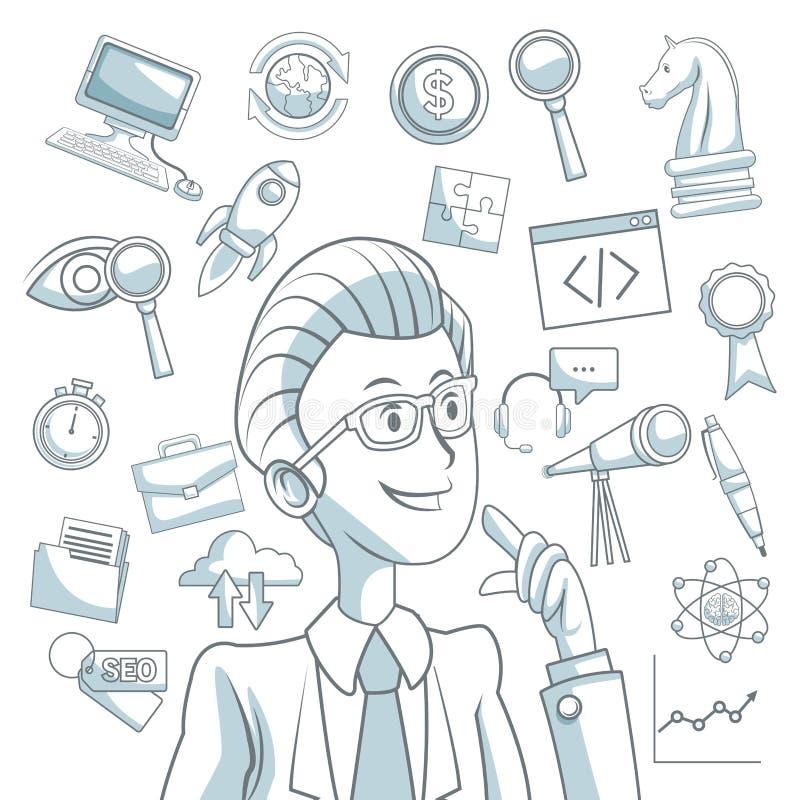 Il fondo bianco con colore della siluetta seziona l'ombreggiatura dello sviluppo di affari esecutivo delle icone e dell'uomo illustrazione di stock