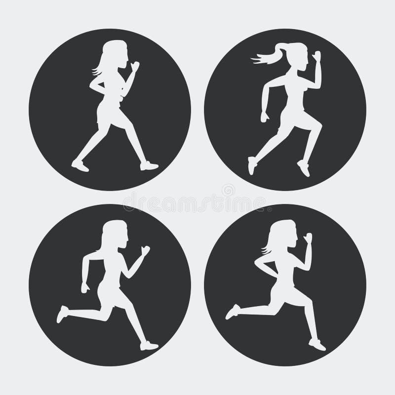Il fondo bianco con i cerchi neri ha messo delle siluette di correre degli atleti delle donne royalty illustrazione gratis