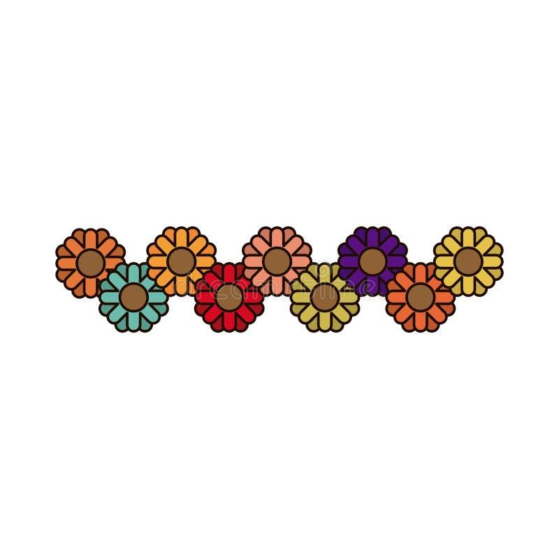 Il fondo bianco con i girasoli astratti modella multicolore illustrazione vettoriale