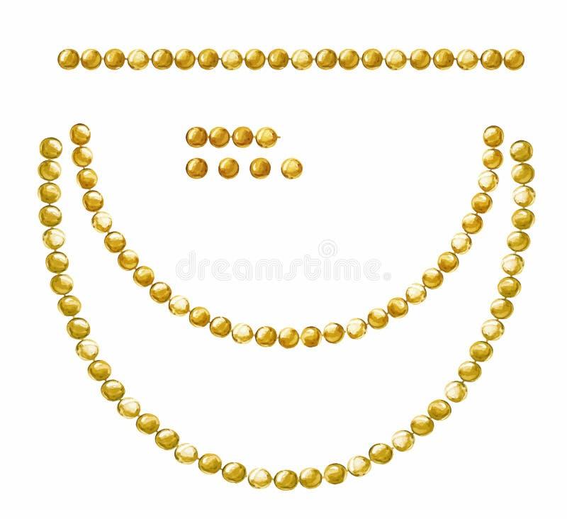 Il fondo bianco con l'attaccatura delle ghirlande dipinte brillanti belle dell'acquerello di oro borda Insieme di vettore per pro royalty illustrazione gratis