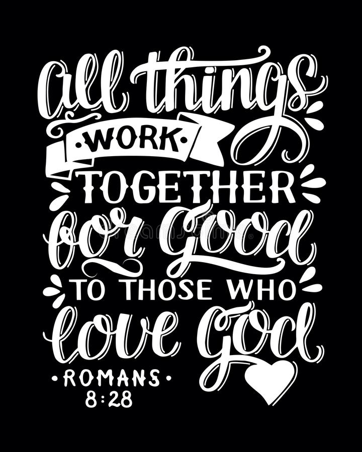 Il fondo biblico con la mano che segna tutte le cose con lettere funziona insieme per sempre a loro che amore Dio illustrazione vettoriale