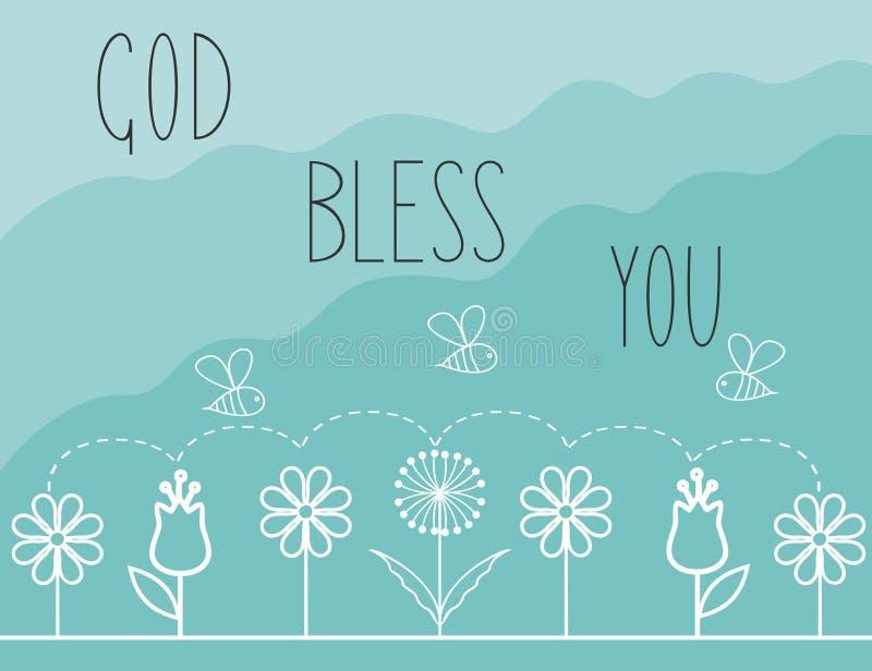 Il fondo biblico con le parole Dio vi benedice illustrazione di stock