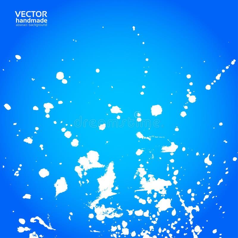 Il fondo blu con spruzza di pittura bianca illustrazione vettoriale
