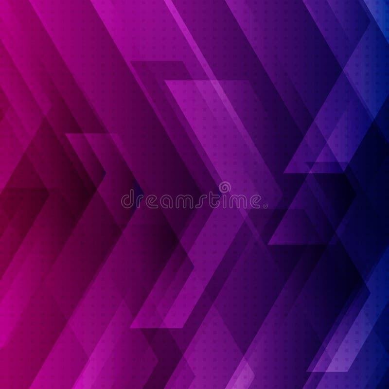 Il fondo blu, porpora e rosa astratto di tecnologia con le grandi frecce firma il concetto delle bande e digitale della tecnologi illustrazione vettoriale