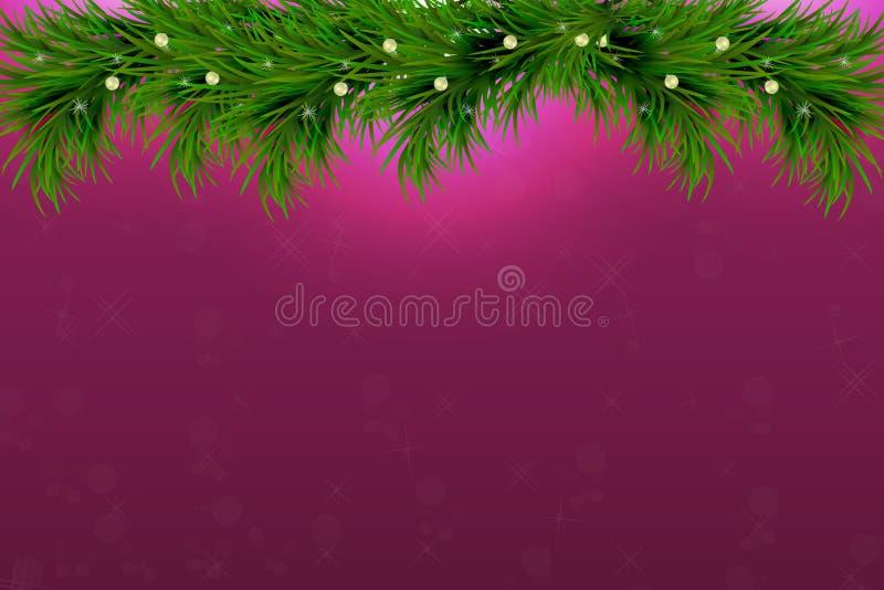 Il fondo con l'albero di Natale si ramifica e spazio per testo Confine realistico dell'abete, struttura su fondo scintillante per royalty illustrazione gratis