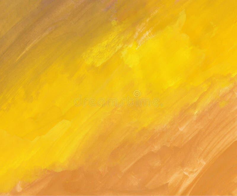 Il fondo con la gouache dipinge le tonalità gialle, tiraggio strutturate immagine stock