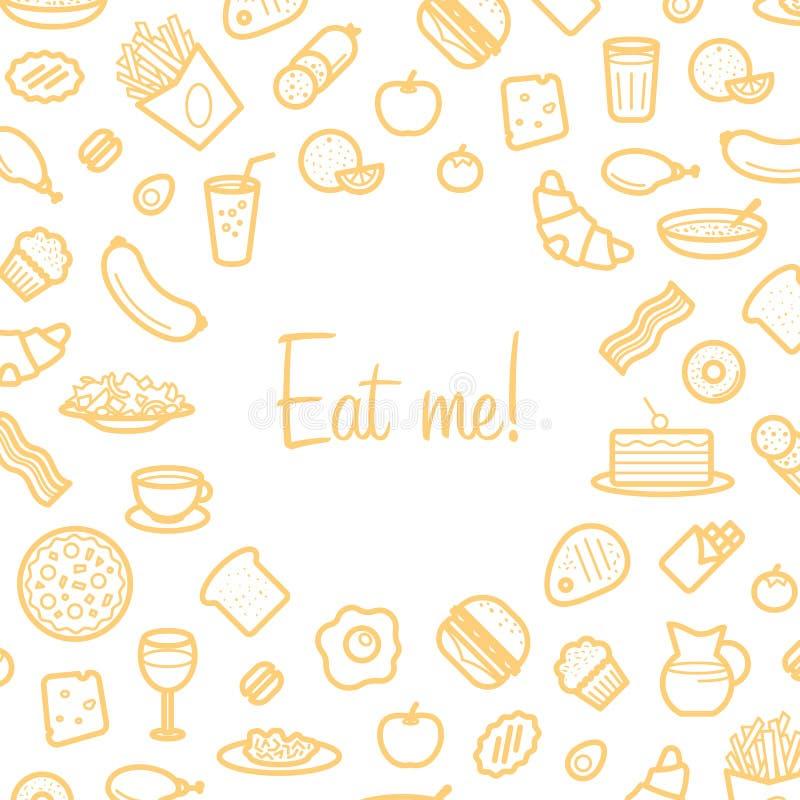 Il fondo con la linea icone di alimento gradisce la salsiccia, dolce, ciambella, croissant, bacon illustrazione vettoriale