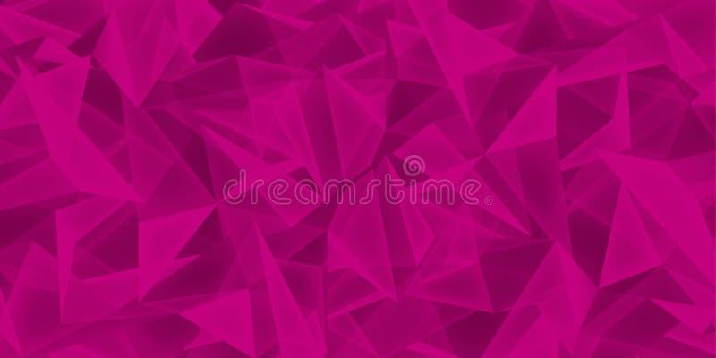 Il fondo cremisi astratto, struttura di vetro dei cristalli, molti triangoli dentella la carta da parati, progettazione di vettor illustrazione vettoriale