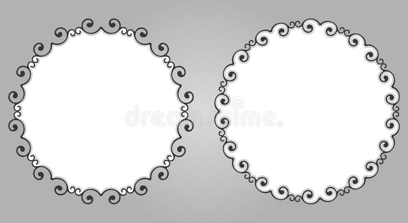 Il fondo decorativo di calligrafia d'annata, vector il retro insieme barrocco reale in bianco antico della struttura del confine fotografia stock libera da diritti